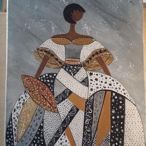 Nő szép ruhában, Otthon & lakás, Képzőművészet, Festmény, Akril, Festészet, 30x25 feszitett vászonra, akrillal festve, lakkozva.  , Meska