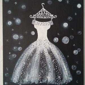 Báli ruha fehér, Otthon & lakás, Képzőművészet, Festmény, Akril, Festészet, 30x25 feszitett vászonra festett kép fekete fehér színben. Akrillal festve , lakkozva., Meska