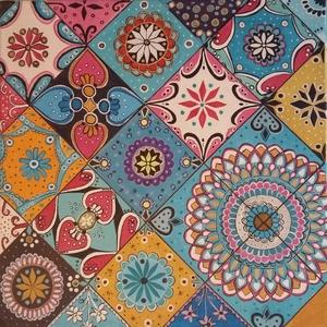 Mozaik kép, Otthon & lakás, Képzőművészet, Festmény, Akril, Festészet, 40x40 feszitett vászon ! Akril festékkel festve , lakkozva . A kép színes kis mozaikok egyvelege .Gy..., Meska