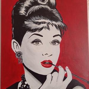 Audrey Hepburn , Művészet, Festmény, Festészet, Nagy kedvencem ez a kép, szeretettel készítettem ! Ajánlom modern otthonokba, ajándékba igy karácson..., Meska