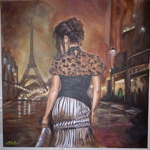 Éjszaka párizsban, Művészet, Festmény, Akril, Festészet, Az éjszaka párizsban című kép, nagyon romantikus, egyedi perspektívából mutatja az elegáns, kecses m..., Meska