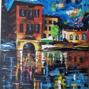 Eső után !, Művészet, Festmény, Akril, Festészet, Sötét tónusú kép, de a benne lévő élénk színek, mégis egy nyugodt, jó hangulatot árasztanak. Ajánlom..., Meska