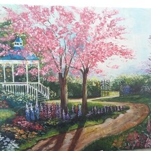 Virágos kert !, Művészet, Festmény, Akril, Festészet, A kép egy gyönyörű színpompás kertet ábrázol ! Mosolyt csal az arcomra amikor ránézek! Ajánlom ajánd..., Meska