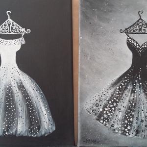 feketében-fehérben, Művészet, Festmény, Akril, A képek 30x24 cm Egy kirakat inspirált ahol megláttam ezeket a gyönyöű ruhákat !  Szép ajándék lehet..., Meska