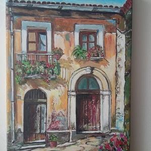 Mediterrán házrészlet, Művészet, Festmény, Akril, A kép egy kis szeletkét mutat a mediterrán hangulatból!  Jó ránézni ! Ajándéknak  kiváló lehetőség. ..., Meska