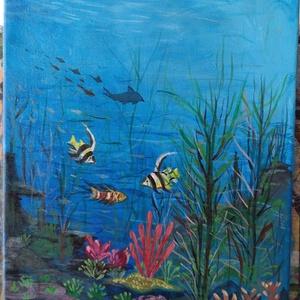 buvárszemmel, Művészet, Festmény, Festészet, A képet az akvárium ihlette! Aki nem akar igazit ,helyettesítheti ez a remek kis kép . Mérete 40 x 3..., Meska