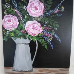 Virágok !, Művészet, Festmény, A kép 50 x 40 cm akrillal festékkel készült feszített vászonra ! Modern hatású , színpompás,kissé ab..., Meska