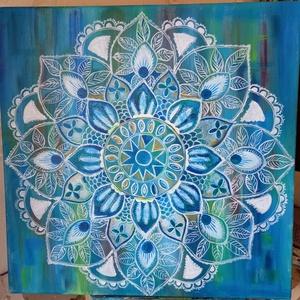 Lótuszvirág Mandala, Művészet, Festmény, Akril, A kép  58x58 cm feszitett vászonra készült akril készített kép. Gyönyörű színeivel különleges hangul..., Meska