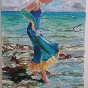 Séta a parton !, Művészet, Festmény, Akril, Nagyon színpompás kép . Színei miatt, bármilyen helyiségben el tudom képzelni. Ajándéknak is kiváló ..., Meska