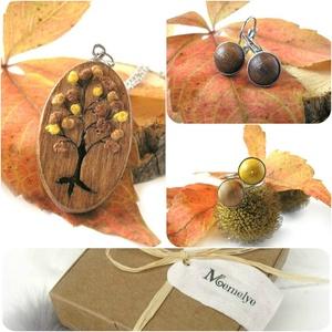 Barna fa ékszer szett - nyaklánc, fülbevaló, gyűrű (Memelye) - Meska.hu