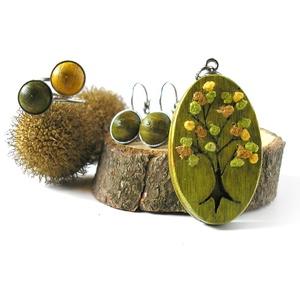 Zöld fa ékszer szett - nyaklánc, fülbevaló, gyűrű (Memelye) - Meska.hu