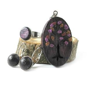 Lila fa ékszer szett - nyaklánc, fülbevaló, gyűrű (Memelye) - Meska.hu