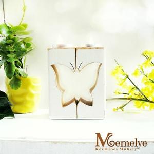 Pillangó mécsestartó szett, Otthon & Lakás, Dekoráció, Gyertya & Gyertyatartó, Cseresznyefából fűrészelt mécsestartók pillangó mintával.  A két fél együtt alkot egy egészet - össz..., Meska