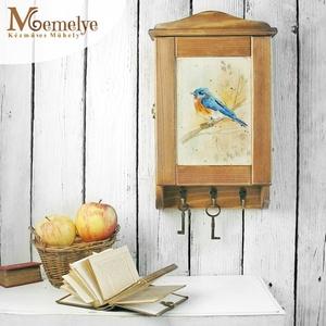 Kulcstartó szekrény, kulcsos szekrény, kék madár (Memelye) - Meska.hu