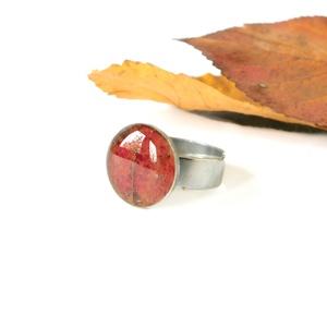 Piros falevél gyűrű (Memelye) - Meska.hu