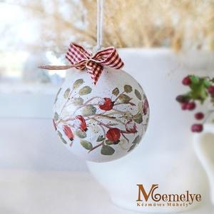 Kézzel festett karácsonyi gömb szett, csipkebogyó, Karácsony & Mikulás, Karácsonyfadísz, Régi idők mézeskalács-illatú Karácsonyait varázsolják otthonodba ezek a kézzel festett díszek.   A f..., Meska