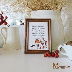 Házi áldás csipkebogyós, Otthon & Lakás, Dekoráció, Kép & Falikép, Házi áldás, kézzel festett csipkebogyós-vörösbegyes mintával, klasszikus, meleg barnára pácolt faker..., Meska