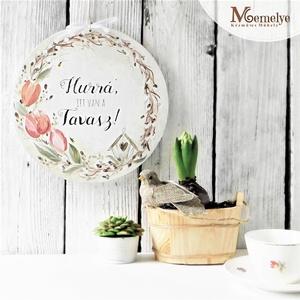 Tulipán tavaszi ajtódísz, ajtótábla, Otthon & Lakás, Dekoráció, Ajtódísz & Kopogtató, Ajtódísz ami tavasszal új lendületet és vidámságot ad a háznak.  Nem csak a felirat, hanem a kézzel ..., Meska