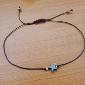 Bokalánc hematit csillaggal, Ékszer, Bokalánc, lábgyűrű, Ékszerkészítés, Csomózás, 1 cm-es hematit csillagból , és egy-egy ezüst színű japán kásagyöngyből készítettem a bokaláncot via..., Meska
