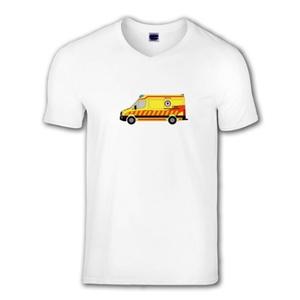 Crafter rohamkocsi mintás, V-nyakú férfi póló, Táska, Divat & Szépség, Férfi ruha, Ruha, divat, Fotó, grafika, rajz, illusztráció, Mindenmás, A póló az egyik legújabb hazai mentőautót, a VW Crafter alvázra épített eset/rohamkocsit ábrázolja.\n..., Meska