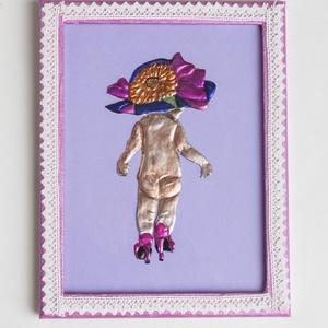Fémdomborított kép - Kislány, Dekoráció, Otthon & lakás, Kép, Fémmegmunkálás, A képen fémdomborítás technikát alkalmaztam, majd médiatintával szineztem. A kép keretet rózsaszín m..., Meska