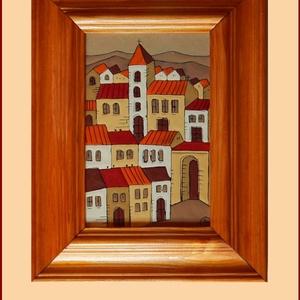 Tűzzománc kép , Képzőművészet, Otthon & lakás, Dekoráció, Kép, Tűzzománc, Festészet, A zománc mérete: 150mmx100mm.\nA keret fa 25mm széles.\nTeljes mérete:230mmx180mm., Meska