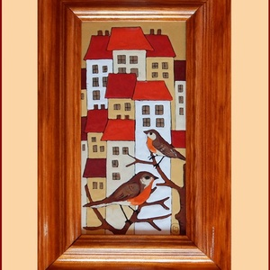 Tűzzománc kép , Képzőművészet, Otthon & lakás, Dekoráció, Kép, Tűzzománc, Festészet, A zománc mérete: 200mmx100mm.\nA keret fa 25mm széles.\nTeljes mérete:280mmx180mm., Meska