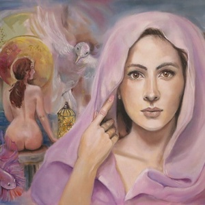 Ametiszt fürdője  - olajfestmény 70x50, Művészet, Festmény, Olajfestmény, Festészet, Varázslatos hangulatú, misztikus, a női szépséget megmutató festmény, mely feszített vászonra készül..., Meska