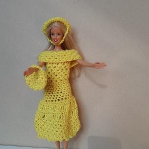 sárga horgolt Barbie baba ruha, Játék & Gyerek, Baba & babaház, Babaruha, babakellék, Horgolás, 100% akril fonalból horgoltam, élénk citromsárga színű. A ruhához kalap és kézitáska tartozik. A kal..., Meska