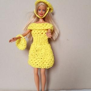 horgolt élénk citromsárga színű Barbie baba ruha, Játék & Gyerek, Baba & babaház, Babaruha, babakellék, Horgolás, 100% akril fonalból horgoltam, a hasánál kötöttem, élénk citromsárga színű. A ruhához kalap és kézit..., Meska