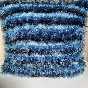 csíkos, kék színű kézzel kötött párnahuzat, Otthon & Lakás, Lakástextil, Párna & Párnahuzat, Kötés, A színoldalát szempillafonalból, a hátoldalát 100% akril fonalból kötöttem. \nmérete 37x33 cm.\nKézzel..., Meska