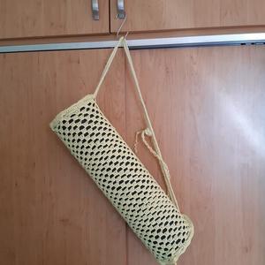 almazöld vagy sárga horgolt jógaszőnyeg tartó, jógatáska (meridakriszta) - Meska.hu