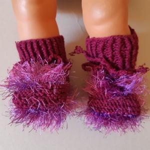 kötött, horgolt fűzős babacipő, babazokni, többféle színben, Ruha & Divat, Babaruha & Gyerekruha, Babacipő, Mindegyik kiscipőre érvényes, hogy 100% akril fonalból kötöttem a babacipőt vagy babazoknit. 9-10 cm..., Meska