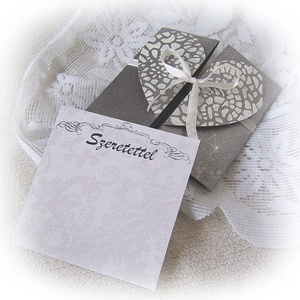 Pénzátadó dobozka, boríték, szívvel és csipkemintával, szalaggal összeköthető (Merka) - Meska.hu