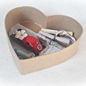 Autós pénzátadó bordó szív doboz, esküvő, eljegyzés, nászajándék(piros fém autóval) (Merka) - Meska.hu