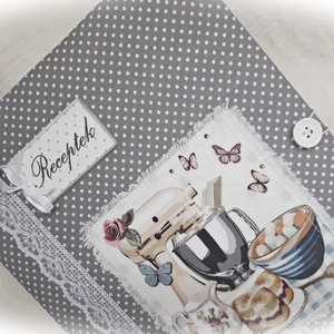 Textil borítású, szürke alapon fehér pöttyös, receptgyűjtő gyűrűs mappa ,füzet, A4 (I.) (Merka) - Meska.hu