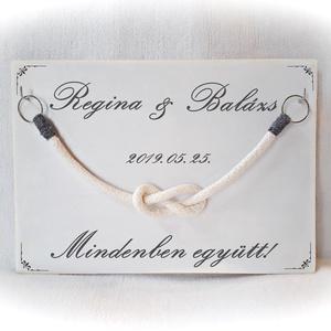 Kötélceremónia, esküvő ,polgári ceremónia, fehér fa,fa falikép,  nászajándék, évforduló,szerelem, valentin (Merka) - Meska.hu