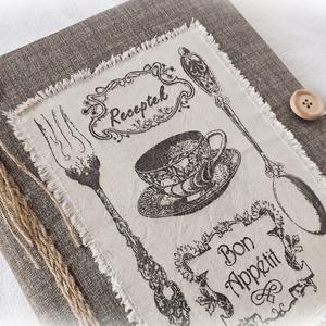 Textil borítású, rusztikus, receptgyűjtő gyűrűs mappa ,füzet, A4 (II.) (Merka) - Meska.hu