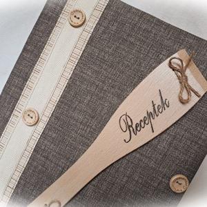 Textil borítású, rusztikus, receptgyűjtő gyűrűs mappa fakanállal,füzet, A4 (I.) (Merka) - Meska.hu