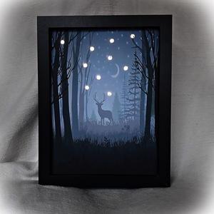 Karácsonyi hangulatú világító fali kép, táblakép, irányfény, hangulatvilágítás,lámpa (Merka) - Meska.hu