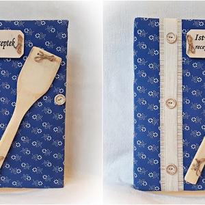 Textil borítású,kékfestő, receptgyűjtő gyűrűs mappa ,füzet,könyv A4  (Merka) - Meska.hu