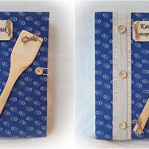 Textil borítású,kékfestő, receptgyűjtő gyűrűs mappa ,fakanál,füzet,könyv A4 (I.) (Merka) - Meska.hu