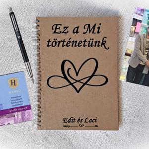 Szerelmes fényképalbum, napló, könyv rusztikus stílusban-  A5 méret, Valentin nap,házassági évforduló, eljegyzé (Merka) - Meska.hu