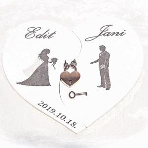 Lakatceremónia,szerelemlakat,menyasszony, vőlegény,fehér szív alakú fa falikép,  nászajándék, eljegyzés, évforduló, , Esküvő, Nászajándék, Festett tárgyak, Famegmunkálás, Ha igazán maradandót szeretnél ajándékozni esküvőre, évfordulóra, eljegyzésre vagy csak úgy szerelem..., Meska