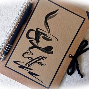 Kávé mintás napló, jegyzetfüzet,rusztikus stílusban- A5 méret, Jegyzetfüzet & Napló, Papír írószer, Otthon & Lakás, Könyvkötés, Fotó, grafika, rajz, illusztráció, Jegyzetfüzet, napló kávézás mellé:)\nRusztikus stílusú, napló 70 db vonalas lappal ( 140 oldal) \nA bo..., Meska