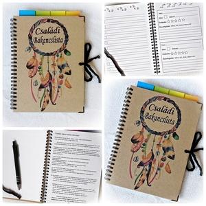 Családi bakancslista napló,nyomtatott lapokkal,ajándék golyóstollal,álomfogó,füzet, jegyzetfüzet,rusztikus ,A5 méret 2., Otthon & Lakás, Papír írószer, Jegyzetfüzet & Napló, Könyvkötés, Fotó, grafika, rajz, illusztráció, Ajándékozd meg az egész családod egyszerre :)\nTe ismered a párod és gyermekeid vágyait, álmait, célj..., Meska