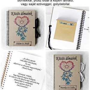 Bakancslista napló pároknak, esküvőre nászajándék belül borítékkal, pénzátadó, napló, névre szóló , Nászajándék, Emlék & Ajándék, Esküvő, Fotó, grafika, rajz, illusztráció, Könyvkötés, Ajándékozz magatoknak pároddal vagy esküvőre nászajándéknak egy igazán hasznos holmit:), \nKészítsék ..., Meska