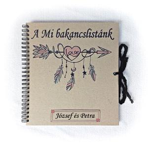 Pénzátadó bakancslista esküvőre, borítékkal is kérhető,nászajándék,napló, beragsztós fényképalbum, egyedi, névre szóló , Nászajándék, Emlék & Ajándék, Esküvő, Fotó, grafika, rajz, illusztráció, Könyvkötés, Ajándékozz az ifjú párnak vagy saját magatoknak pároddal egy igazán hasznos holmit:)\nKészítsék együt..., Meska