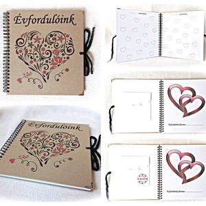 ÉVFORDULÓ beragsztós fényképalbum, esküvőre, borítékkal,20 nyomtatott lappal,nászajándék,évforduló, valentin, pénz átadó, Esküvő, Emlék & Ajándék, Nászajándék, Fotó, grafika, rajz, illusztráció, Könyvkötés, Ajándékozz az ifjú párnak vagy saját magatoknak pároddal egy igazán hasznos albumot, hogy az évfordu..., Meska