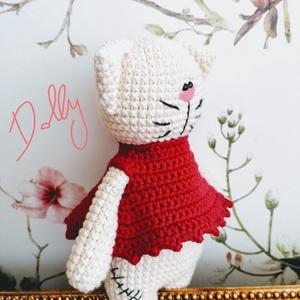 Vintage amigurumi cica, Cica, Plüssállat & Játékfigura, Játék & Gyerek, Horgolás, Minőségi pamut, kevert szálas bézs színű fonalból készült Dolli cica, biztonsági szemmel, vatellinal..., Meska